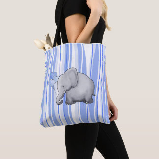 Cute Striped Elephant Baby New Parent Diaper Tote Bag