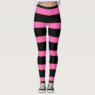 Cute Striped Pattern in Black and Bubblegum Pink Leggings