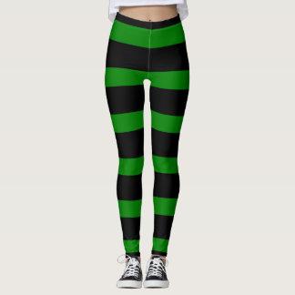 Cute Striped Pattern in Black and Kelly Green Leggings
