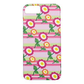 Cute Stripes and Flowers iPhone 7 Case