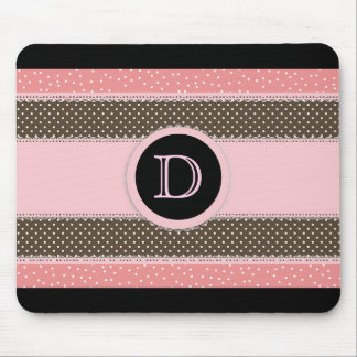 Cute Stripes and Polka Dot Monogram Mouse Pad