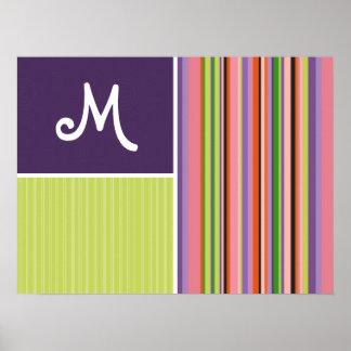 Cute Stripes; Purple & Green Print