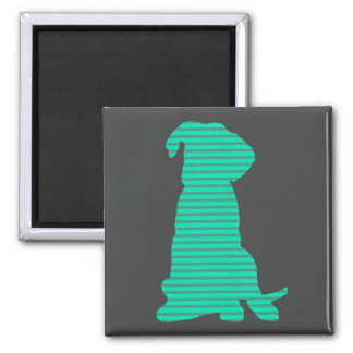 Cute stripy boxer puppy silhouette refrigerator magnets