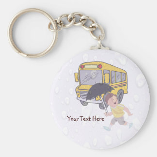 Cute Student Running To Catch School Bus Key Ring