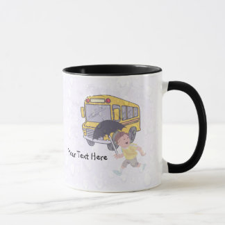 Cute Student Running To Catch School Bus Mug
