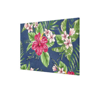 Cute Stylish Colors Tropical Hawaii Floral Pattern Canvas Print