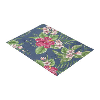 Cute Stylish Colors Tropical Hawaii Floral Pattern Doormat