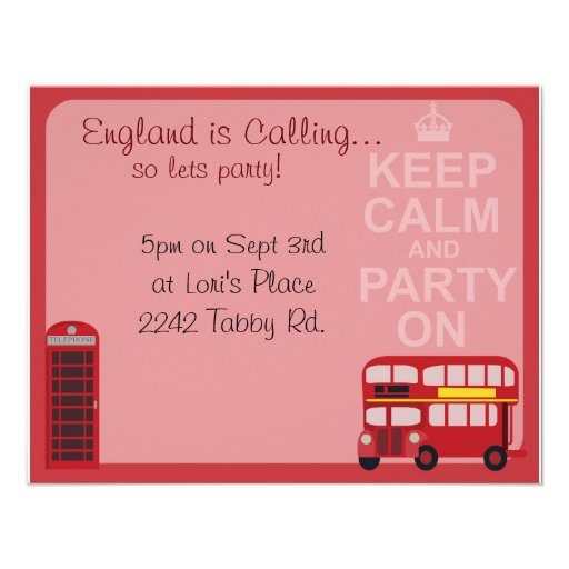Cute Stylish London Party Custom Announcements