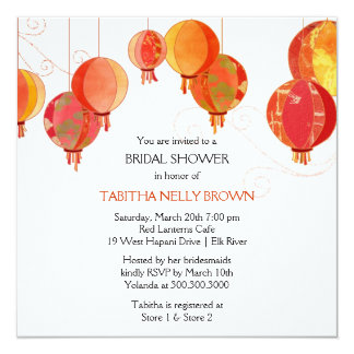 Cute Stylish Red Lanterns Bridal Shower 13 Cm X 13 Cm Square Invitation Card