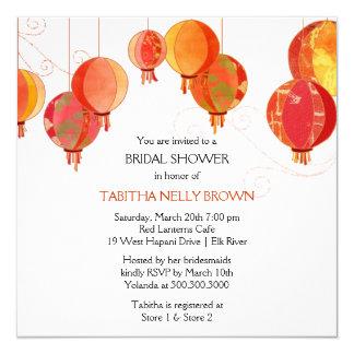 Cute Stylish Red Lanterns Bridal Shower Invitation