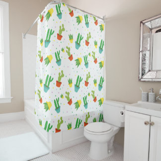 Cute succulent cactus polka dots pattern shower curtain