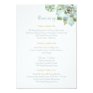 Cute Succulent Garden Wedding Itinerary Card