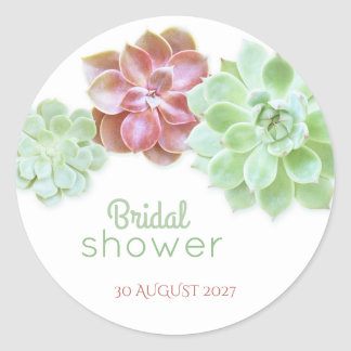 Cute Succulents Cactus Bridal Shower Classic Round Sticker