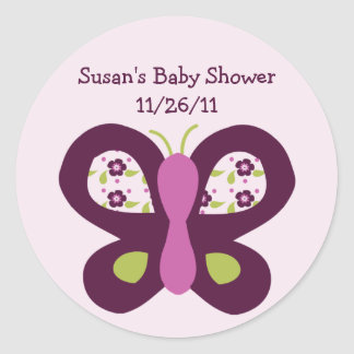Cute Sugar Plum Butterfly Stickers/Envelope Seals Round Sticker