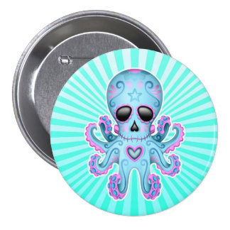 Cute Sugar Skull Zombie Octopus - Blue Pink Pinback Button