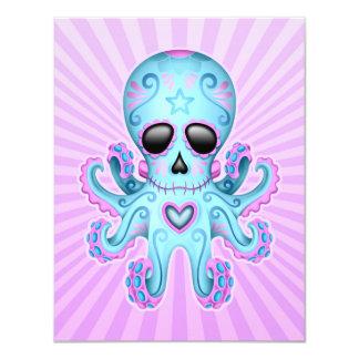 "Cute Sugar Skull Zombie Octopus - Blue Purple 4.25"" X 5.5"" Invitation Card"