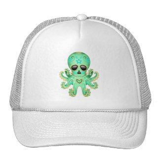 Cute Sugar Skull Zombie Octopus - Green Mesh Hat