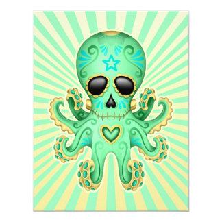"Cute Sugar Skull Zombie Octopus - Green 4.25"" X 5.5"" Invitation Card"