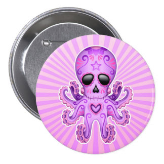 Cute Sugar Skull Zombie Octopus - Purple Buttons