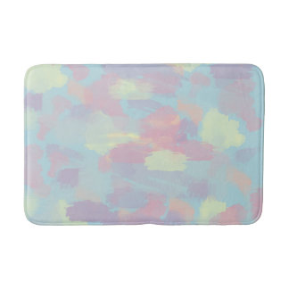 cute summer colorful pastel brushstrokes pattern bath mat