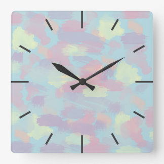 cute summer colorful pastel brushstrokes pattern square wall clock