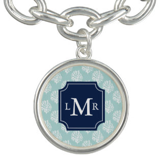 Cute Summer Pattern and Blue Monogram Personalized