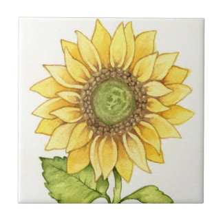 Cute Summer Sunflower Happy Yellow Flower Sunny Tile