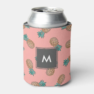 cute summer tropical faux gold pineapple pattern can cooler