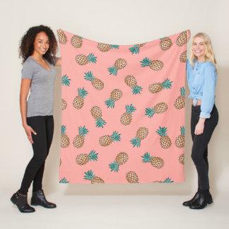 cute summer tropical faux gold pineapple pattern fleece blanket