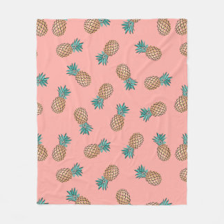 cute summer tropical faux gold pineapple pattern fleece blanket