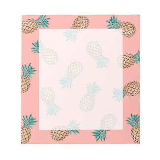 cute summer tropical faux gold pineapple pattern notepad