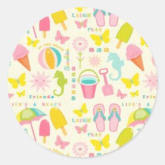 Cute Summertime Classic Round Sticker