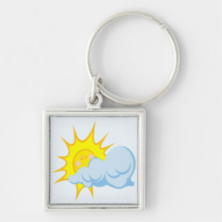 Cute Sun Behind a Cloud Silver-Colored Square Key Ring