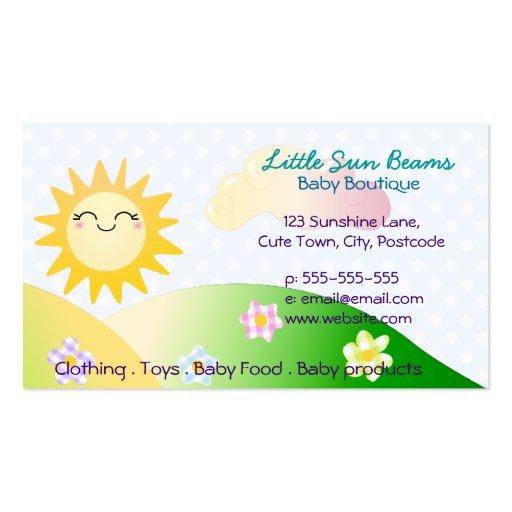 Cute sun kawaii cartoon business cards