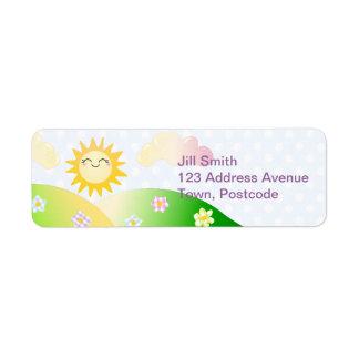 Cute sun kawaii cartoon return address label