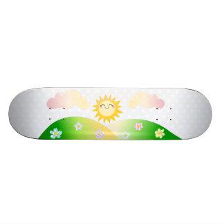 Cute sun kawaii cartoon skateboards