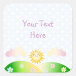 Cute sun kawaii cartoon square stickers