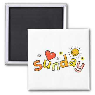 Cute Sunday Week Day Greeting Text Expression Square Magnet