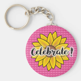 Cute Sunflower on Pink Heart Celebrate Keychain