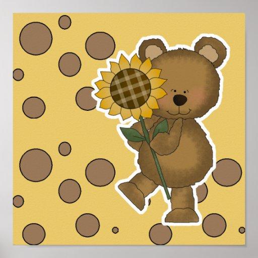 Cute Sunflower Teddy Bear Poster