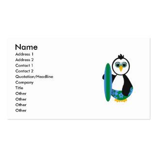 Cute Sunny Surfer Penguin Business Card Template