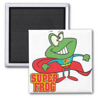 cute super frog superhero cartoon square magnet
