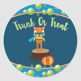 Cute Super Hero Fox Trunk or Treat Classic Round Sticker