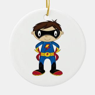 Cute Superhero Boy Ceramic Ornament