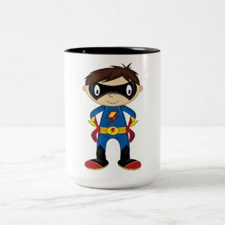Cute Superhero Boy Two-Tone Coffee Mug