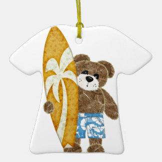 Cute surfer teddy bear christmas tree ornaments