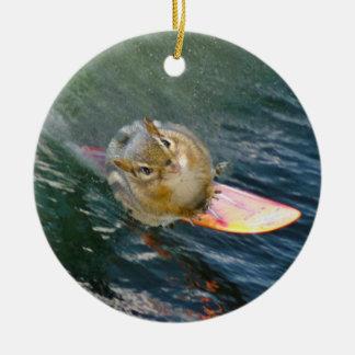 Cute Surfing Chipmunk Ceramic Ornament