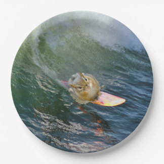 Cute Surfing Chipmunk Paper Plate