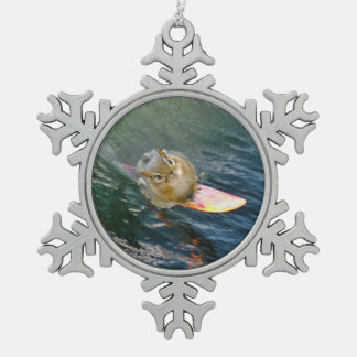 Cute Surfing Chipmunk Snowflake Pewter Christmas Ornament