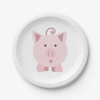 Cute Surprised Pig Paper Plate